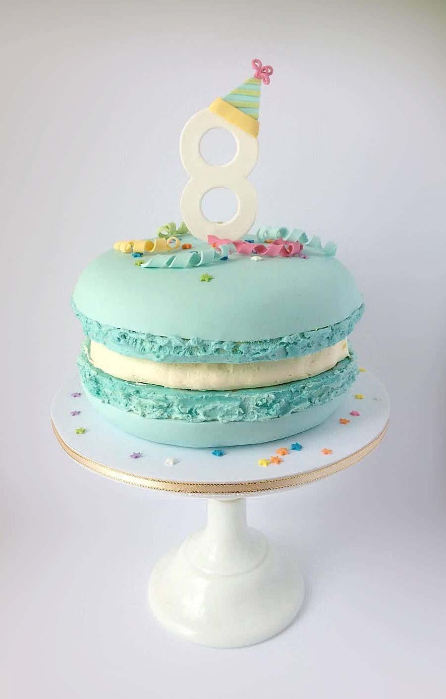 Macaroon 8th Birthday Cake By Edible Art Artist Catherine Beddall