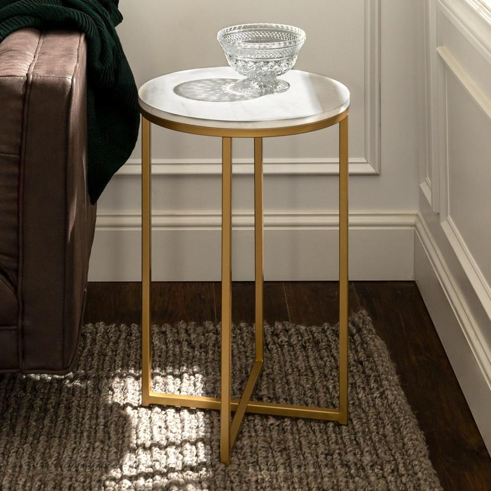 Walker Edison Furniture Company 16 In Marble Gold Round Side Table In 2019 Products Furniture Table Furniture