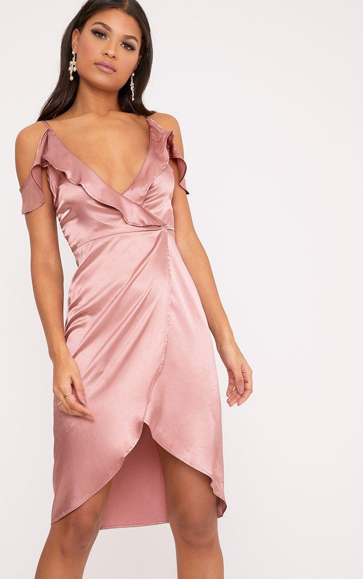 Quinn Rose Satin Frill Cold Shoulder Wrap Midi Dress | Dresses ...