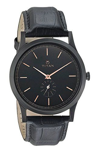 417a99bcb0070 Titan Mens Classique Quartz Stainless Steel and Leather Casual Watch  ColorBlack Model 1674NL01 ** Find out more about the great product at the  image link.