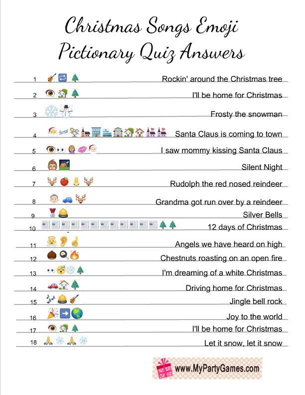 Free Printable Christmas Songs Emoji Pictionary Quiz Answer Key Printable Christmas Games Christmas Song Games Fun Christmas Party Games