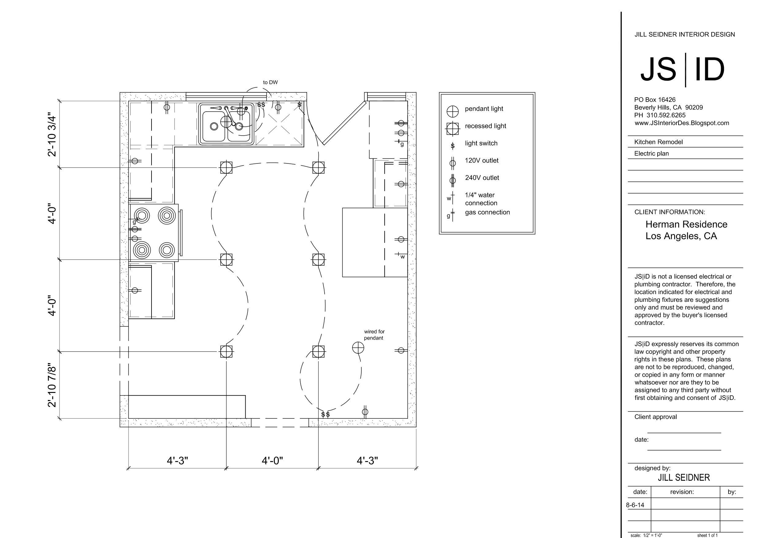 Los Angeles CA Duplex Kitchen Remodel Lighting & Electrical Plan