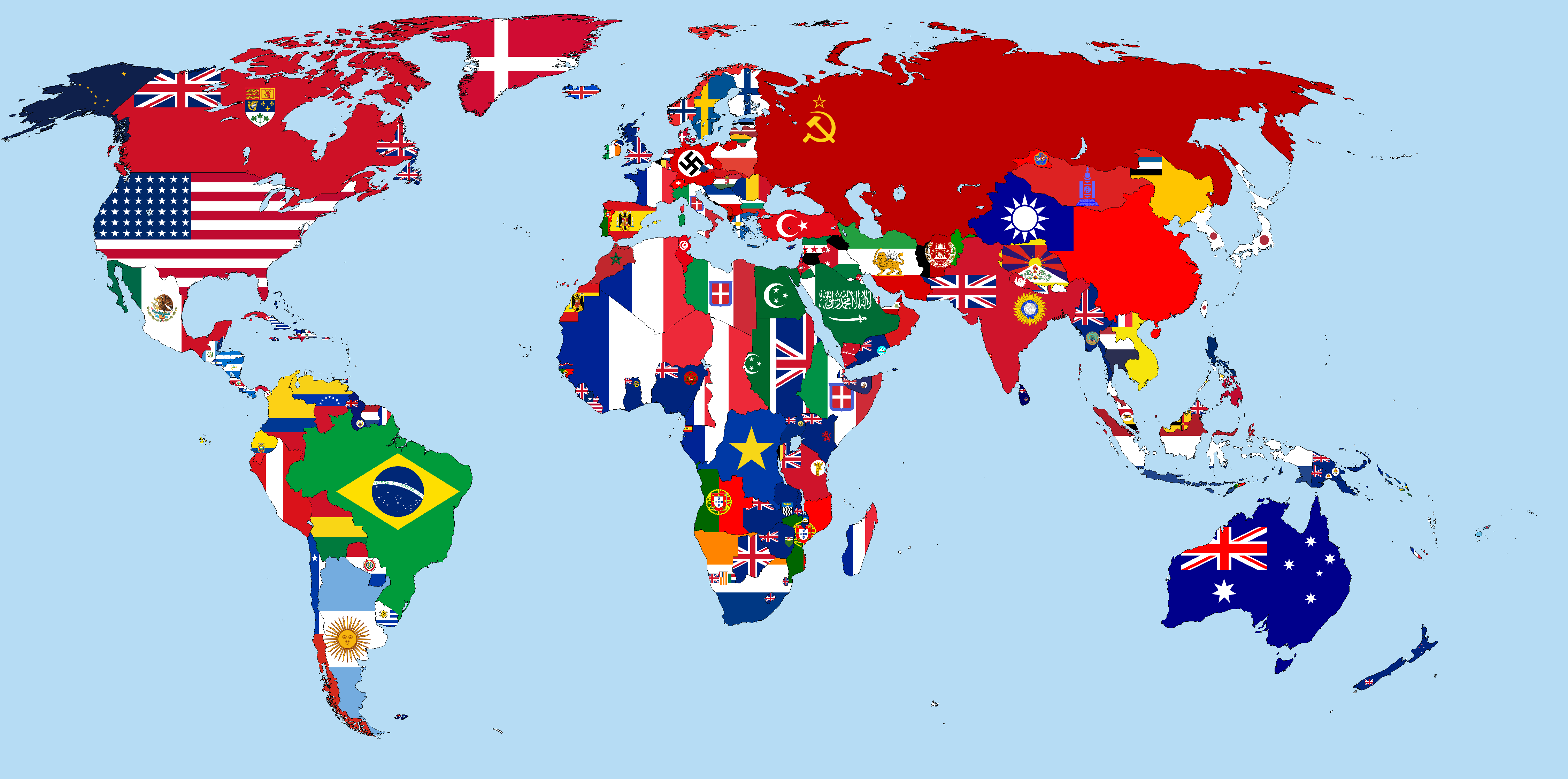 Flag map of the world in 1938 maps pinterest explore world maps world map quiz and more gumiabroncs Choice Image
