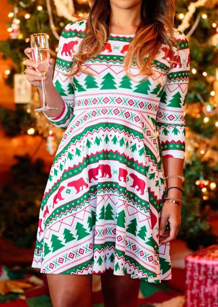 Christmas Trees Bear Mini Dress - White #AD #Bear, #SPONSORED, #Trees, # Christmas, #White | Mini dress, White mini dress, Long sleeve mini dress