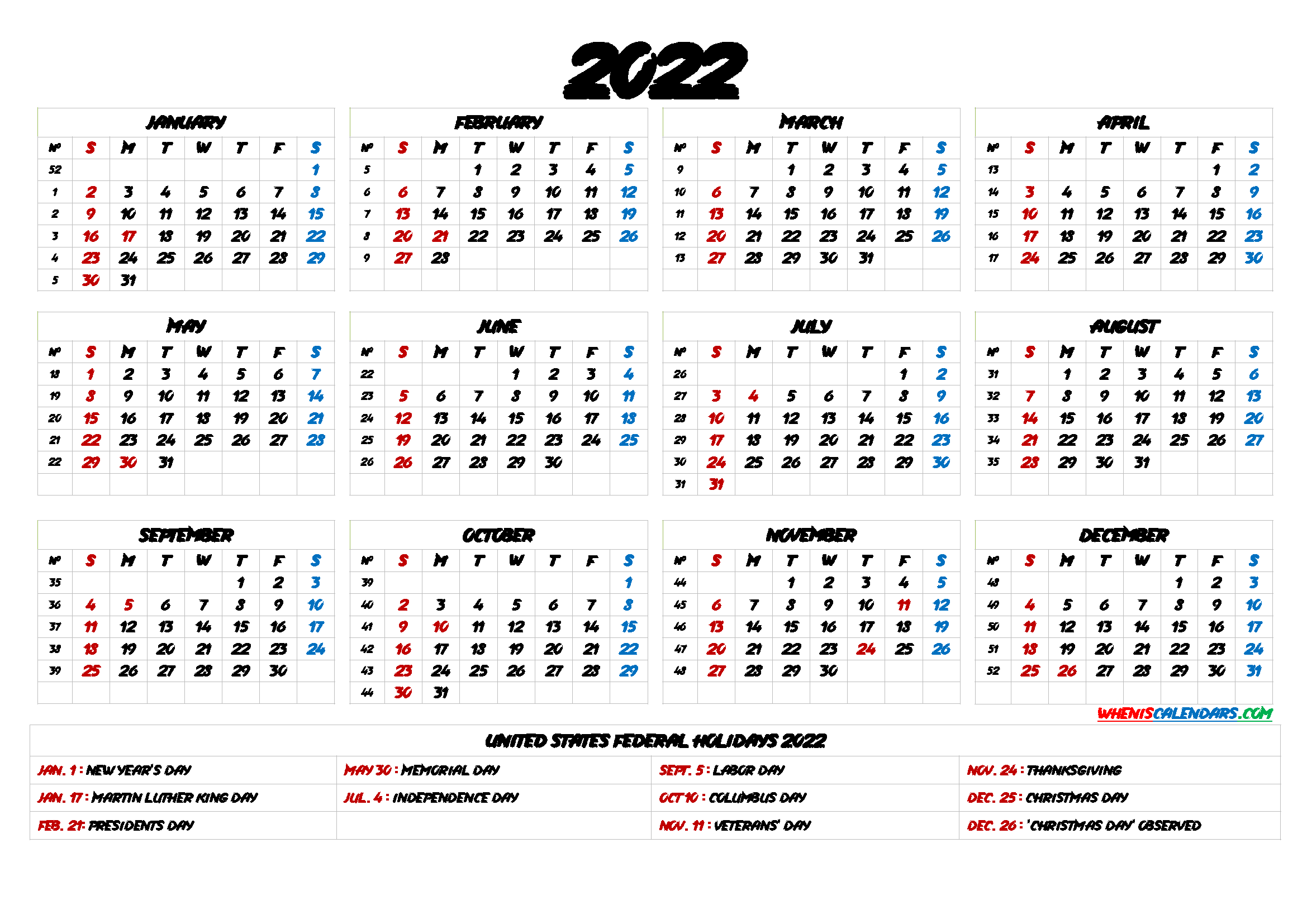 One Year Calendar 2022.Free Printable 2022 Yearly Calendar With Holidays 6 Templates Templates Printable Free Calendar Printables Printable Calendar