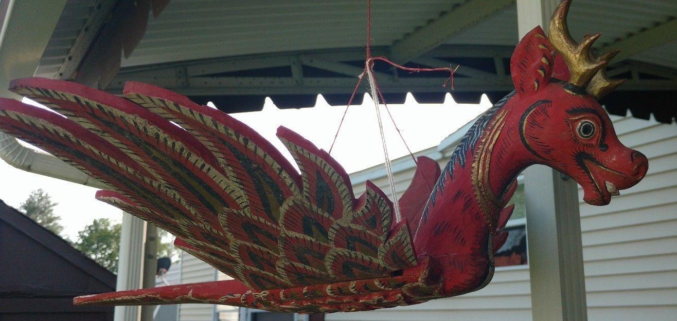 Antique asian carved wood garuda bird of prey tribal art us