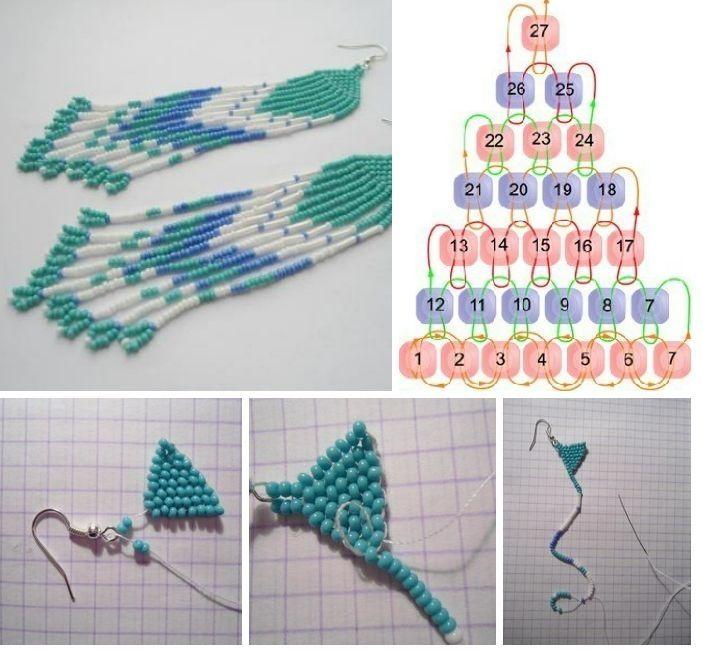 Схемы плетения сережек из бисера фото
