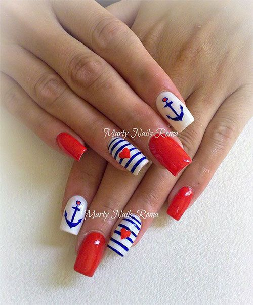 The Best 4th July Nail Art Designs For Some Fun Diy Time With Your Patriotic Besties Sailor Nails Nautical Nails Cruise Nails