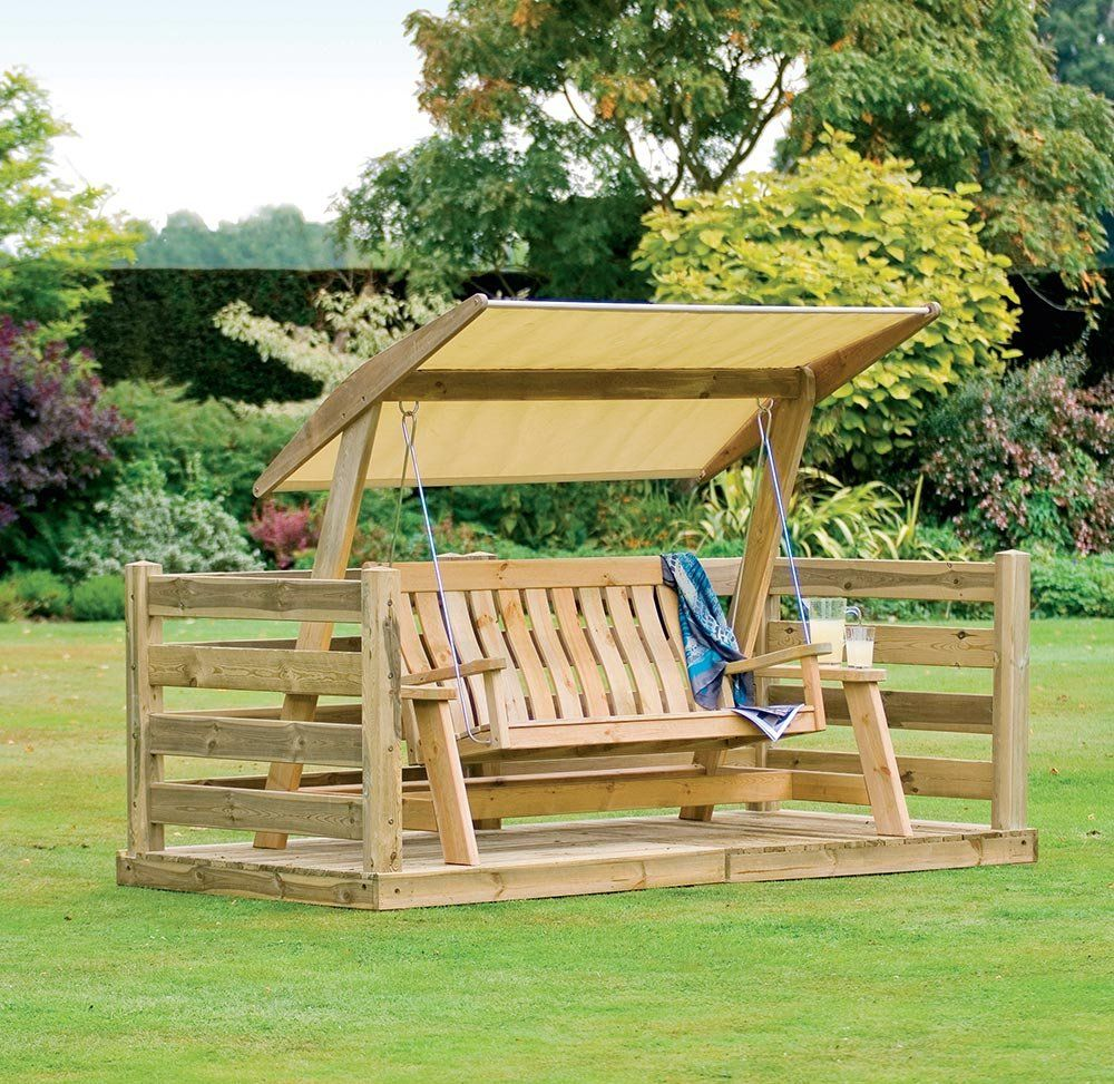 Outdoor Wooden Patio Swing Set With Canopy Oak Wood Frame
