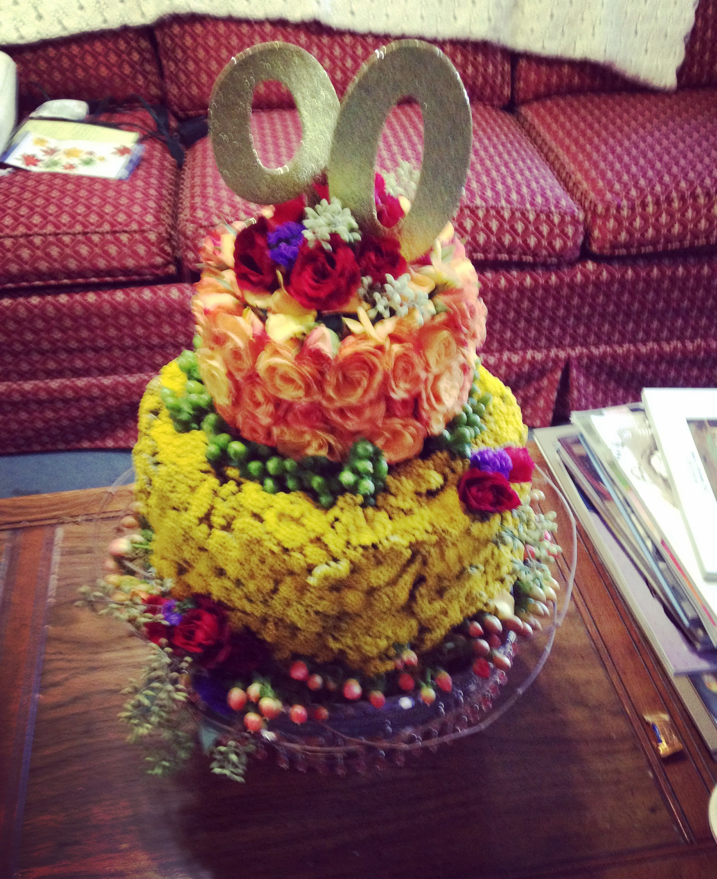 """My mom designed a flower """"cake"""" for my grandmothers 90th birthday party."""