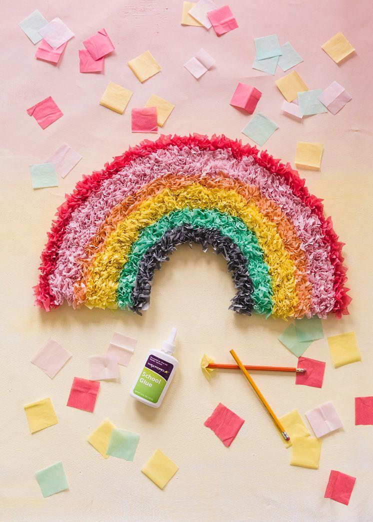 Diy Tissue Paper Rainbow Diy Pinterest Paper Crafts Diy And Paper