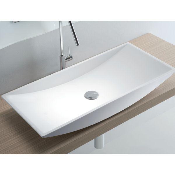 Vasque rectangulaire à poser, résine blanche - Lasa Idea - Sdebain - Meuble De Salle De Bain Sans Vasque
