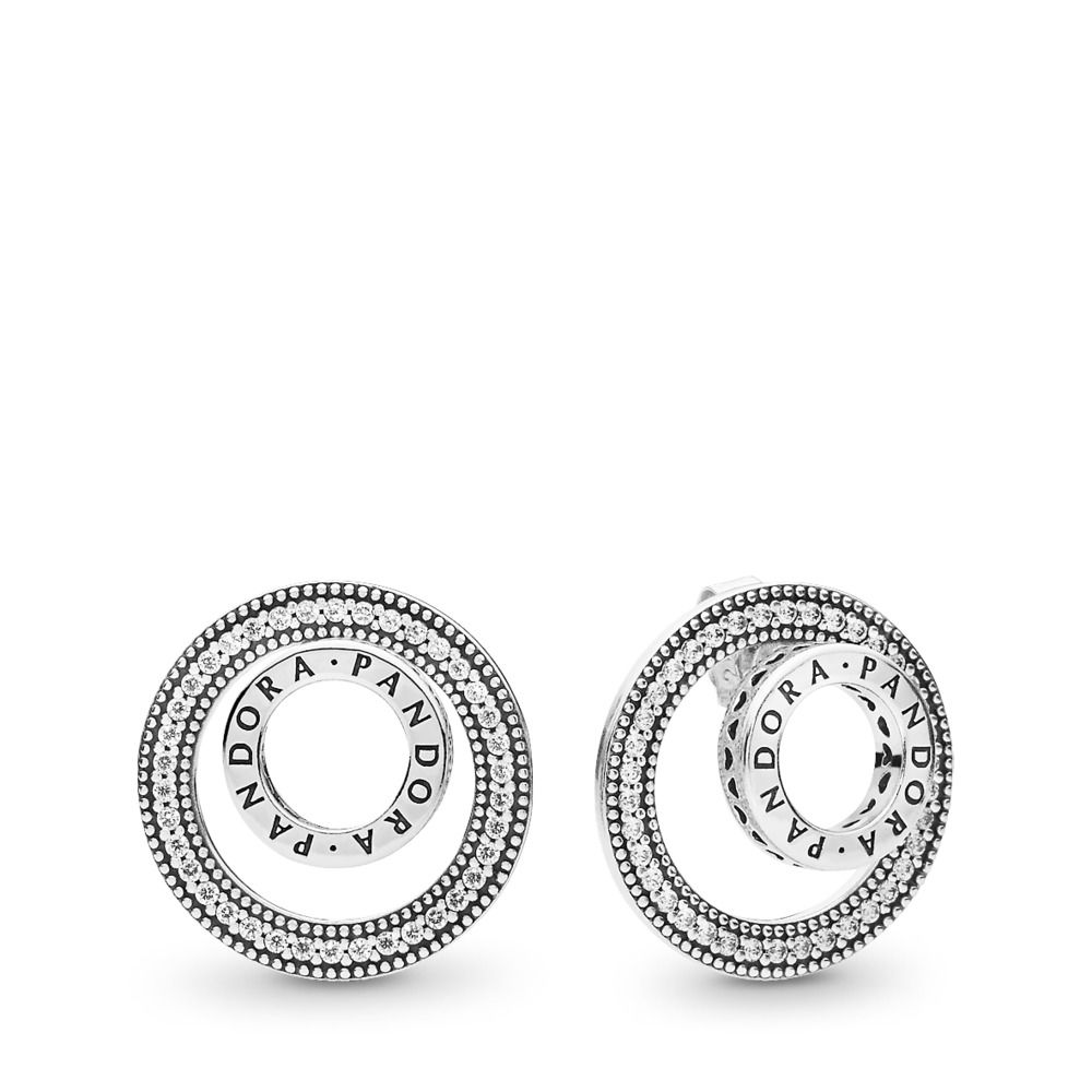 The Kiss Heart Shape Clear CZ 925 Sterling Silver 925 Sterling Silver Hoop Earrings