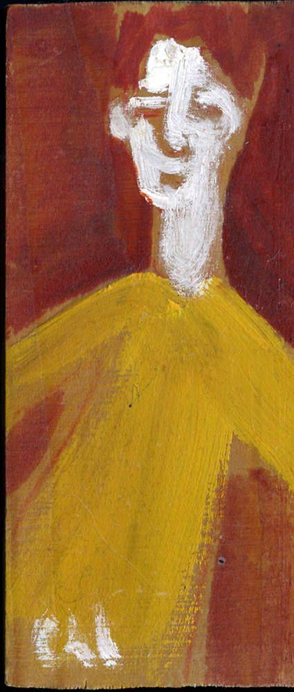 Petite peinture sur bois, objet décoratif, cadeau - jeune au pull jaune