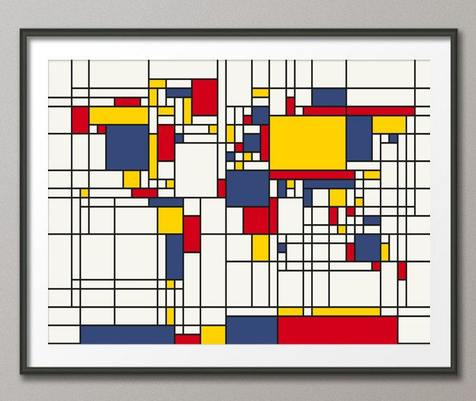 Map of the World Map in the style of Piet Mondrian, Art Print (202 - copy world map autocad download