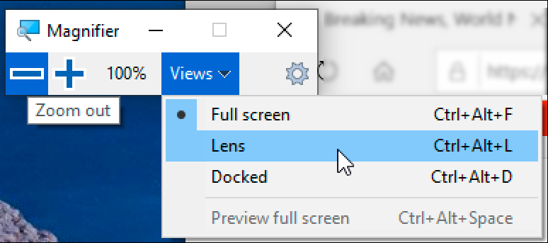 How can I magnify text in Microsoft Edge Magnifier