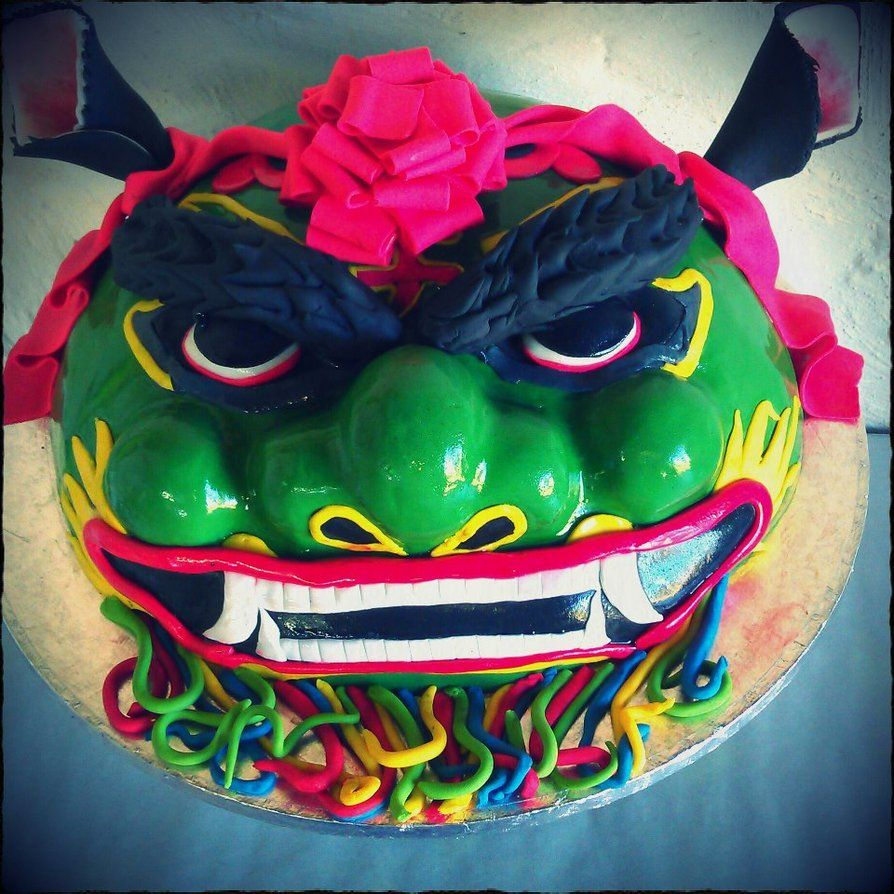 Someone made a cake with Taiwanese Lion Dance head as a design How