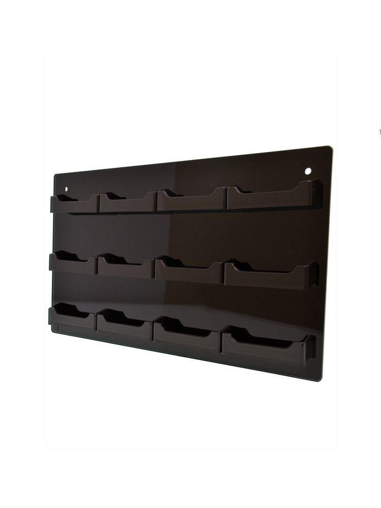 12 Pocket Black Business Card Holder Display Acrylic Horizontal Wall Mount #MarketingHolders