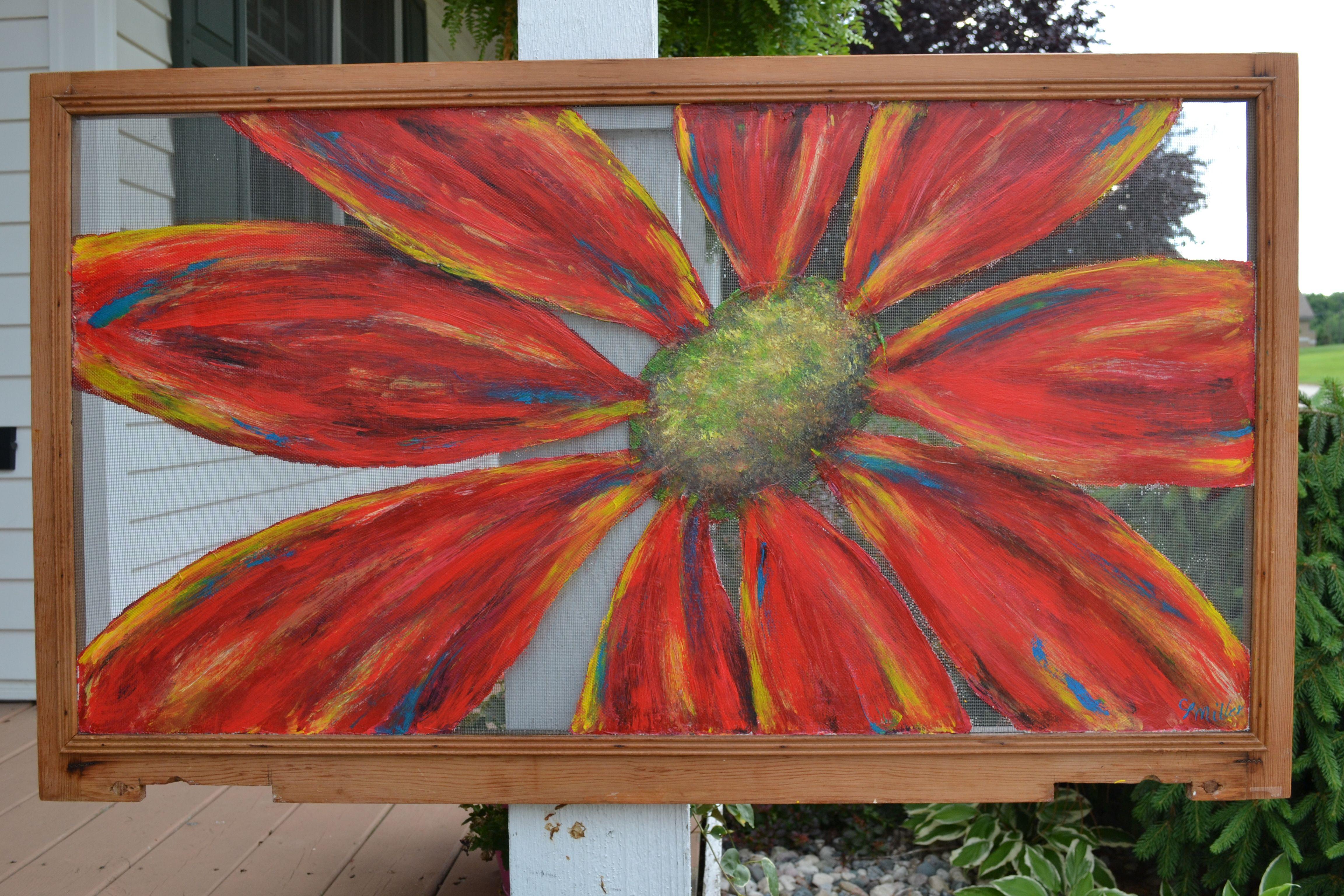 original flower painting on a window screen