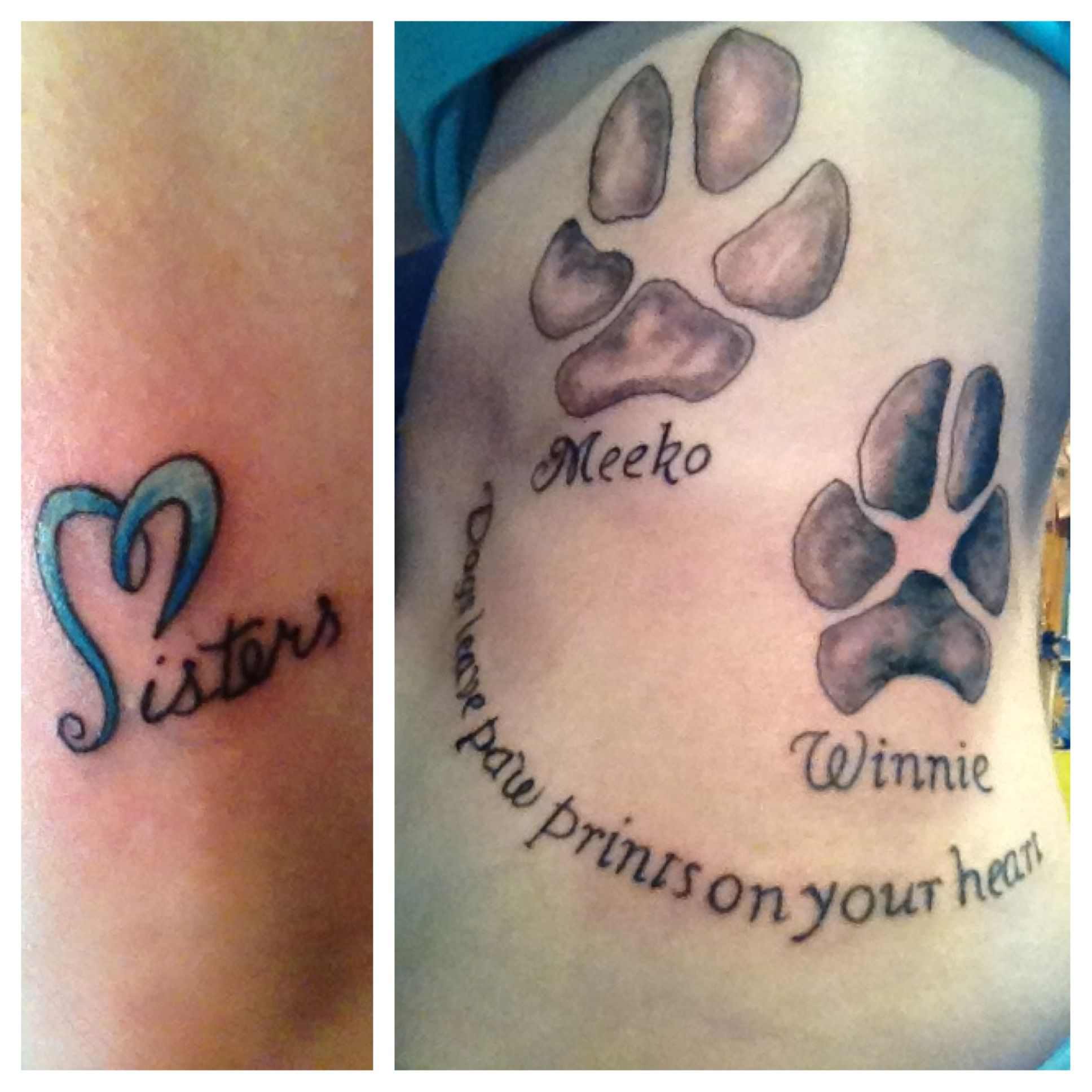 Tattoo for my sister and my dogs actual paw prints pet for Tattoos in remembrance of dog