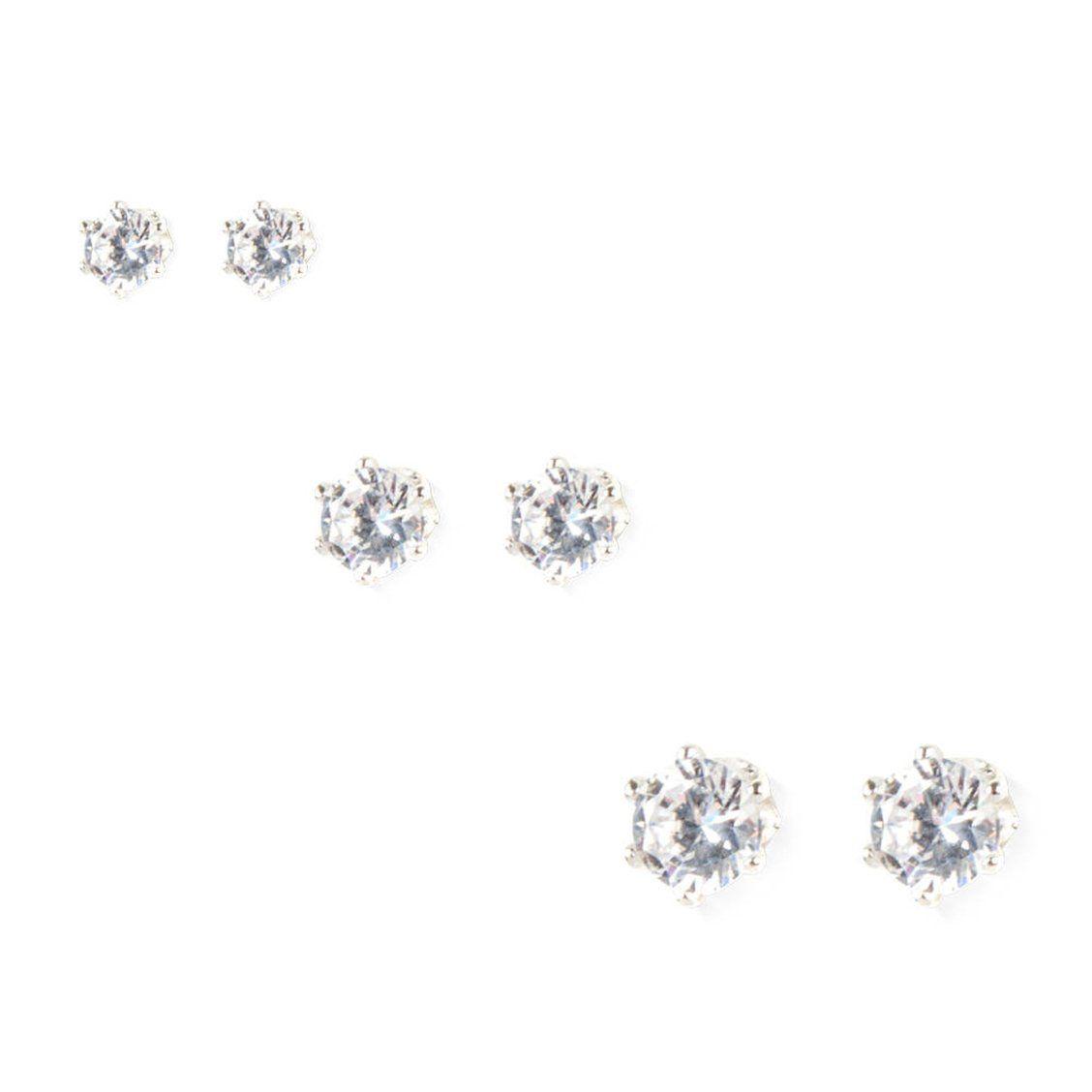 8934b6391b3b21 Round Cubic Zirconia Stud Earrings 3 Pack   3MM, 4MM and 5MM round cubic  zirconia stud earrings provide plenty of pretty sparkle.