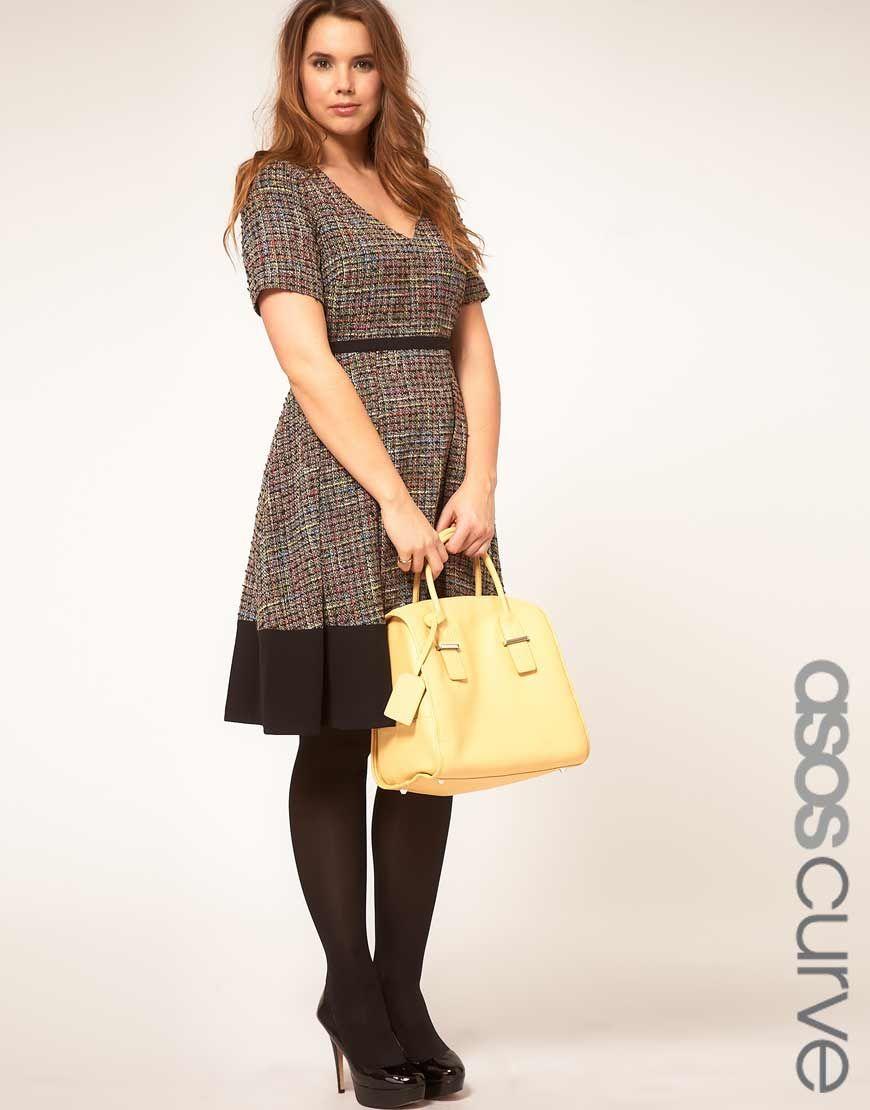 ASOS CURVE Premium Midi Dress In Rainbow Textured Fabric