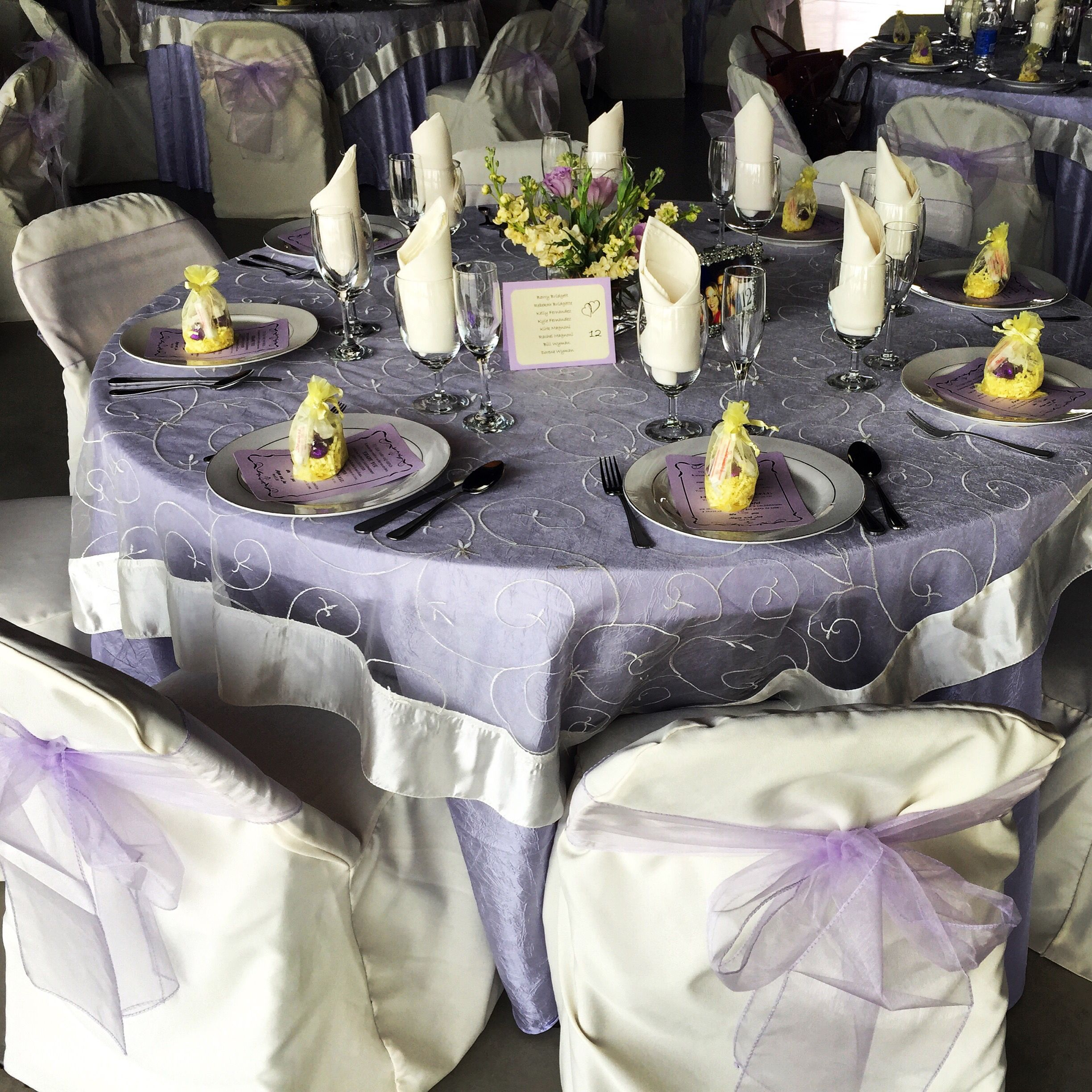 Crushed Lavender Table Cloth. Ivory Embroidered Organza Overlay. Ivory  Napkin. Ivory Chair Cover