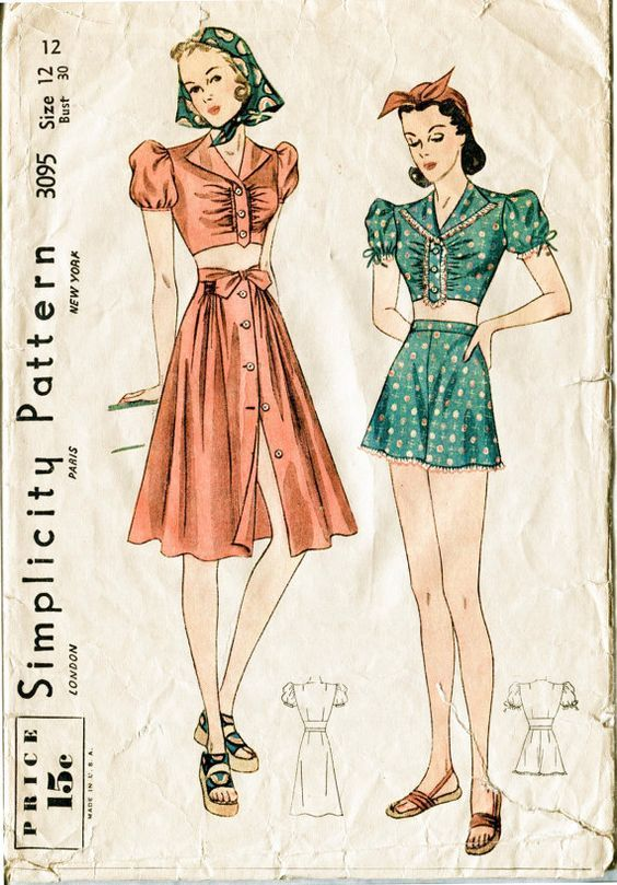 8cd90fc4c5 1940s vintage sewing pattern crop top puff blouse beach playsuit sun skirt  high waisted shorts bust 30 b30 Simplicity 3095