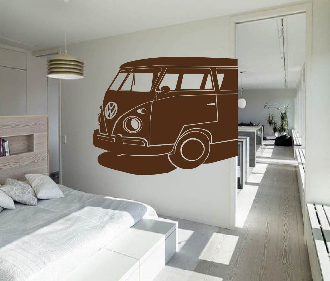 Large vw bus driving mural surf and vintage inspired choose your