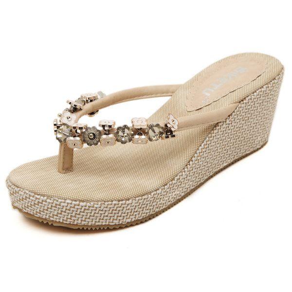 5570789eaf2 Bohemia Flower Bead Clip Toe Sandals Slip On Platform Flip Flops Beach  Sandals - Banggood Mobile