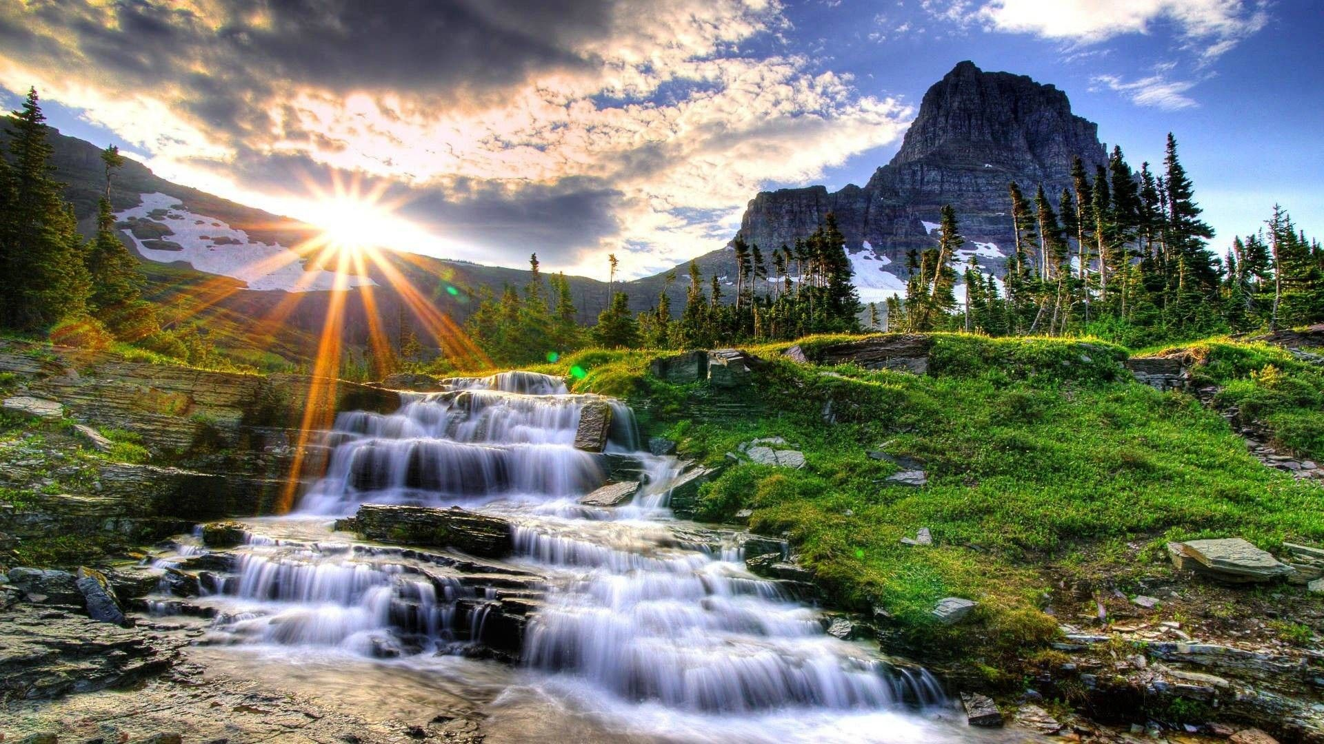 Beautiful Waterfall With Sun Rise 19201080 Nature Desktop Wallpaper Desktop Background Nature Hd Nature Wallpapers