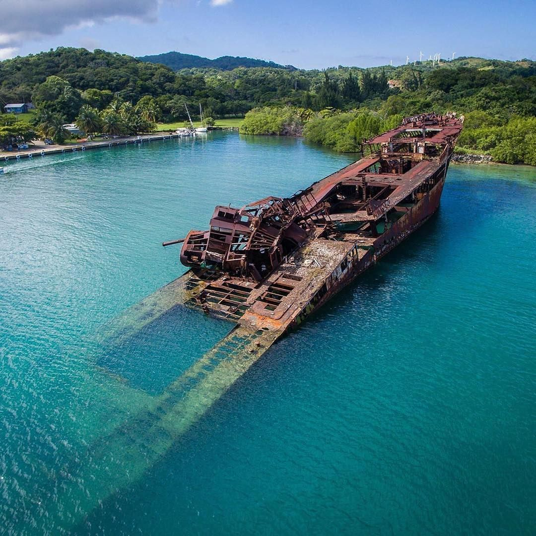 Roatan Island: Partially Sunken Ship In Roatan, Honduras.