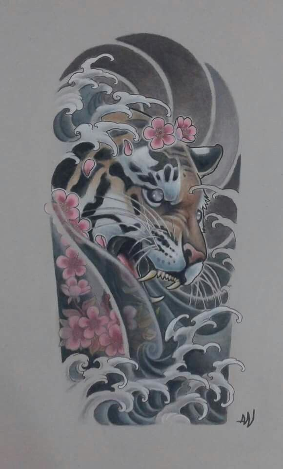Tiger cherry blossom waves sexy tattoo ideas pinterest for Oriental tattoo