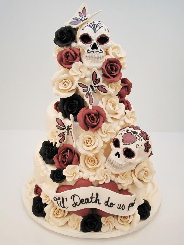 Sugar skull wedding cake pinteres for Sugar skull wedding dress