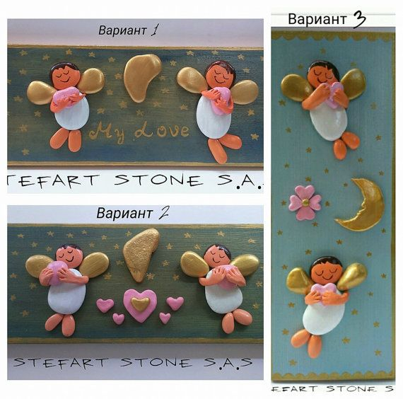 Made-To-Order Angels Hand painted Stones and clay by StefArtStone