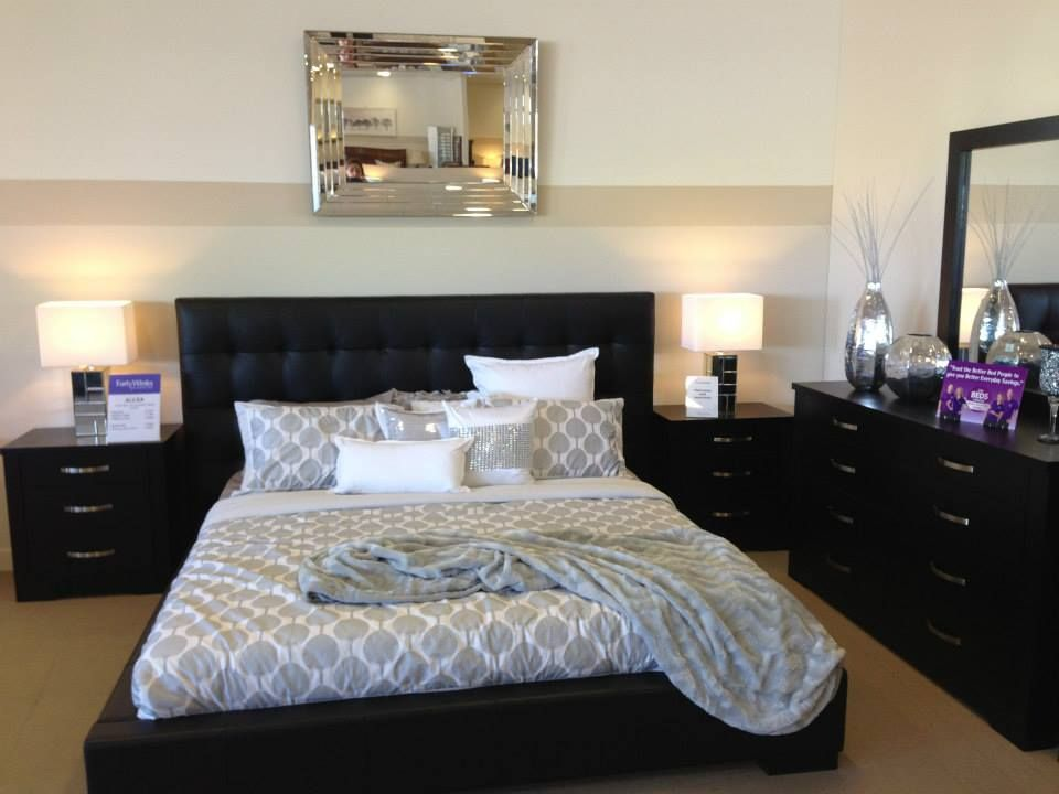 Black Alexa Bedroom Suite In Genuine Leather.