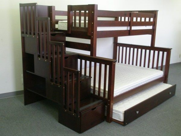 Bunk Beds Twin Over Full Stairway Cuccino Trundle