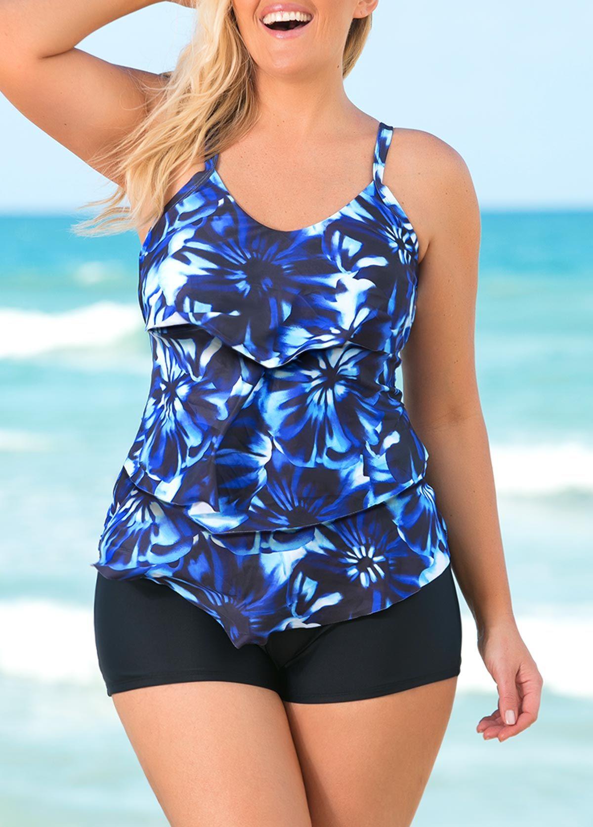 bc7f465d81d0e Plus Size Layered Printed Tankini Set | liligal.com - USD $29.32 #liligal # plussize #swimwear