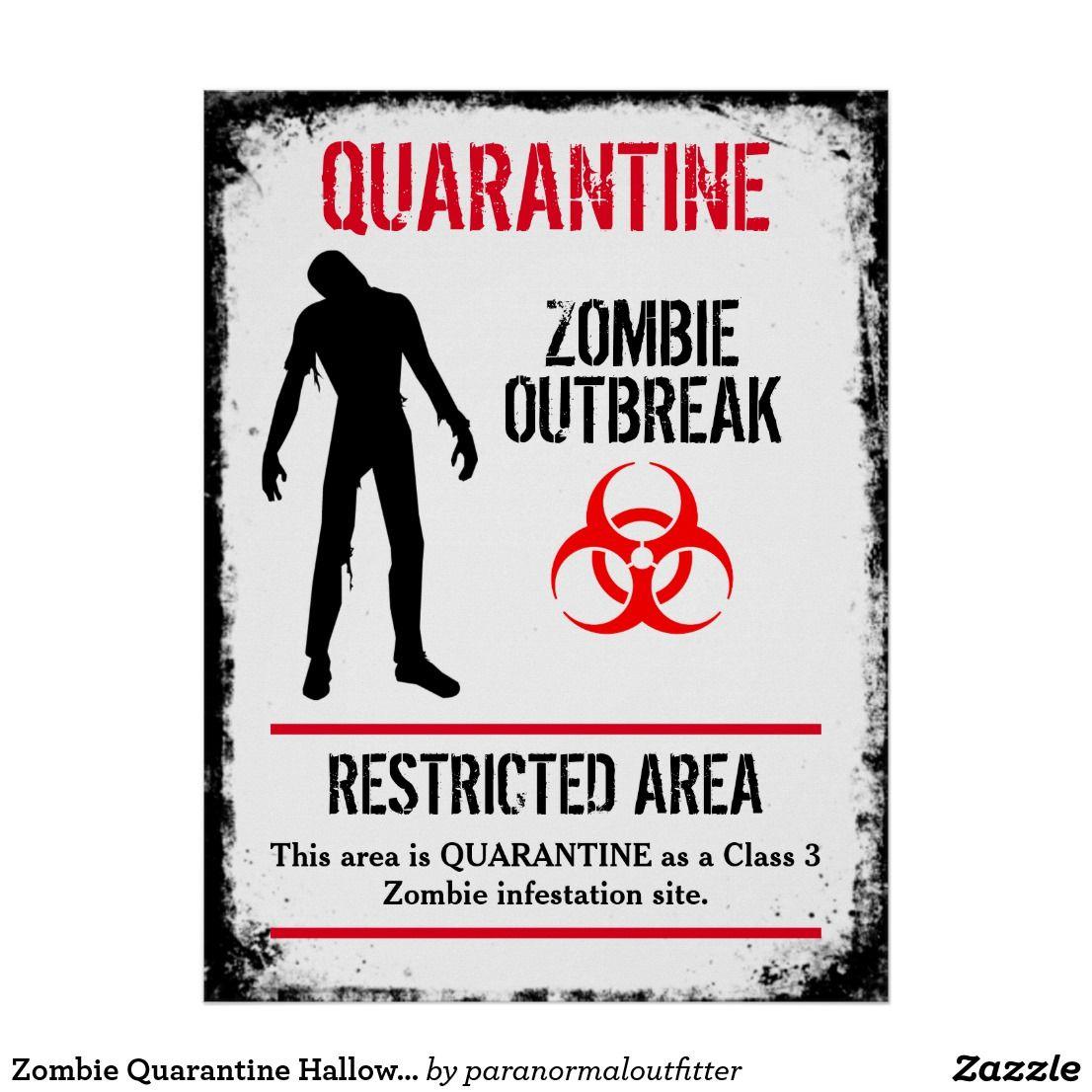 Zombie Quarantine Halloween prop Poster
