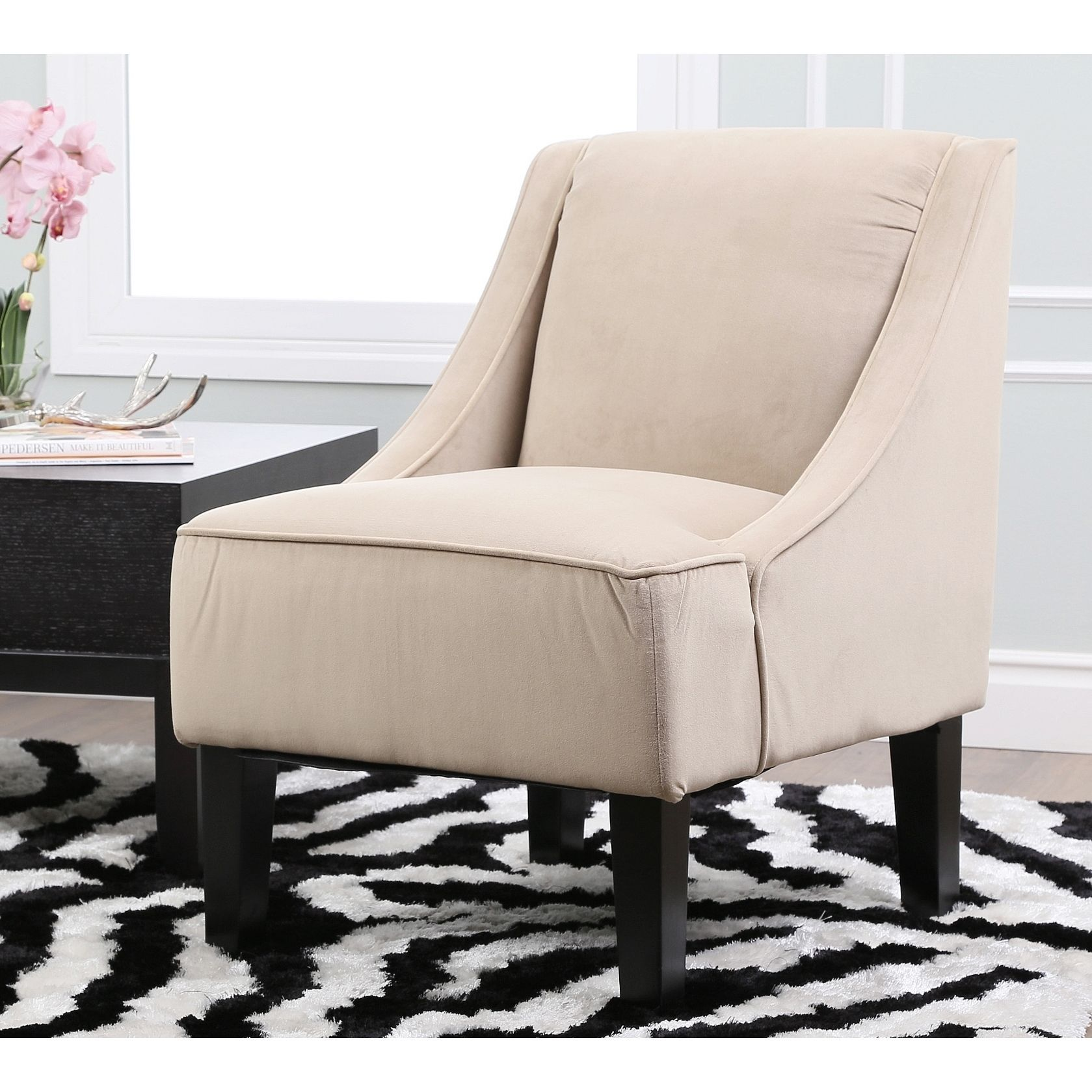 ABBYSON LIVING Cameron Taupe Suede Swoop Chair by Abbyson