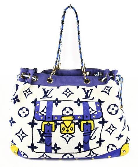 Louis Vuitton Blue White Limited Edition Cabas Monogram Eponge Tote Louis Vuitton Bag Used Louis Vuitton Vuitton