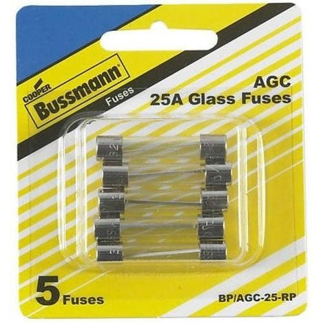 cooper bussmann bp/agc-25-rp agc glass fuse, 25 amp, nickel