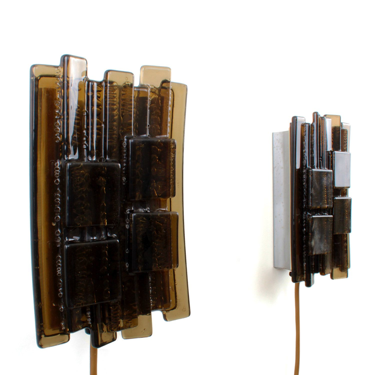 NO. 1217 - pair of sconces by Claus Bolby for CEBO, 1970s. Danish vintage light design. Charming pair of dark brown Plexiglas wall lamps. by DanishVintageDesigns on Etsy