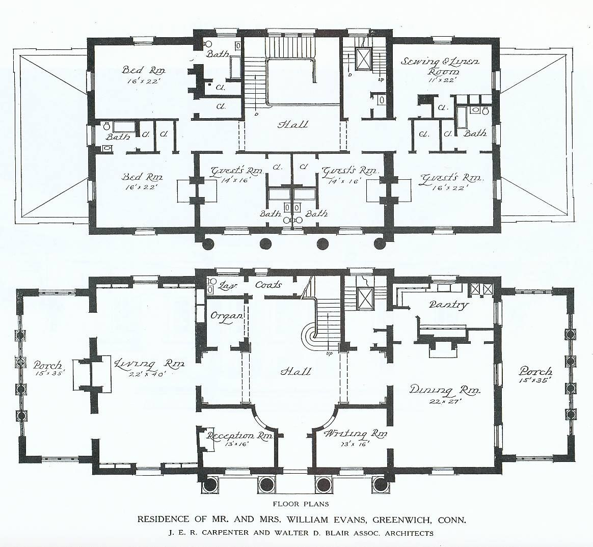 Villa grundrisse greenwich connecticut amerikanischer häuser baupläne herrenhäuser architekturzeichnungen asheville haus pläne gehäuse