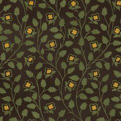 Green & Gold Leaf Vine on Black, Tree of Life, Mary Koval, Windham (By Half Yard)