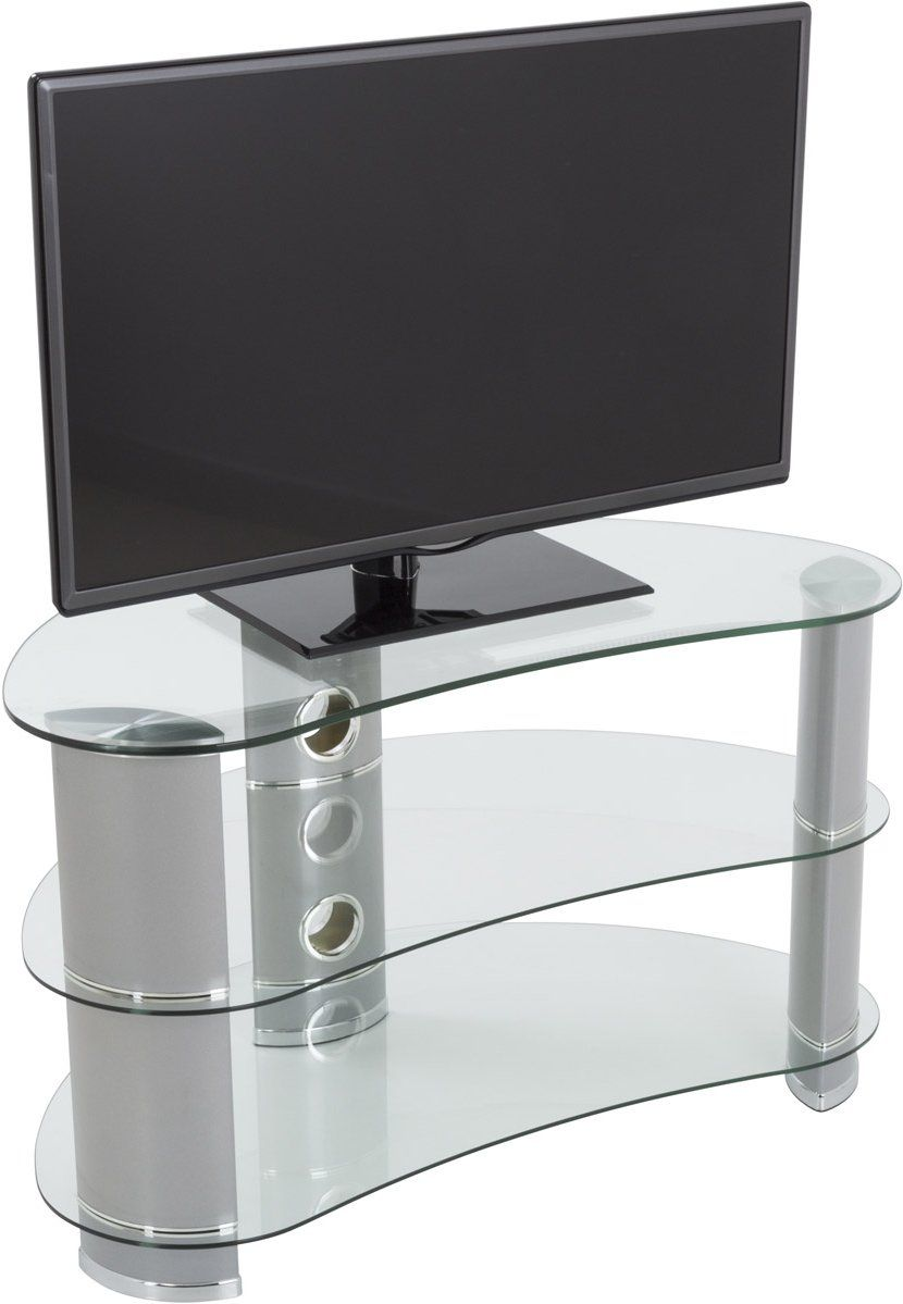 Avf Curved Glass Tv Stand For Up To 40 Tvs Clear Glass Chrome