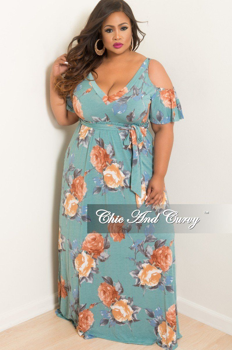bc1f40b092d8 Plus Size Cold Shoulder Dress in Teal and Tan Floral Print – Chic And Curvy