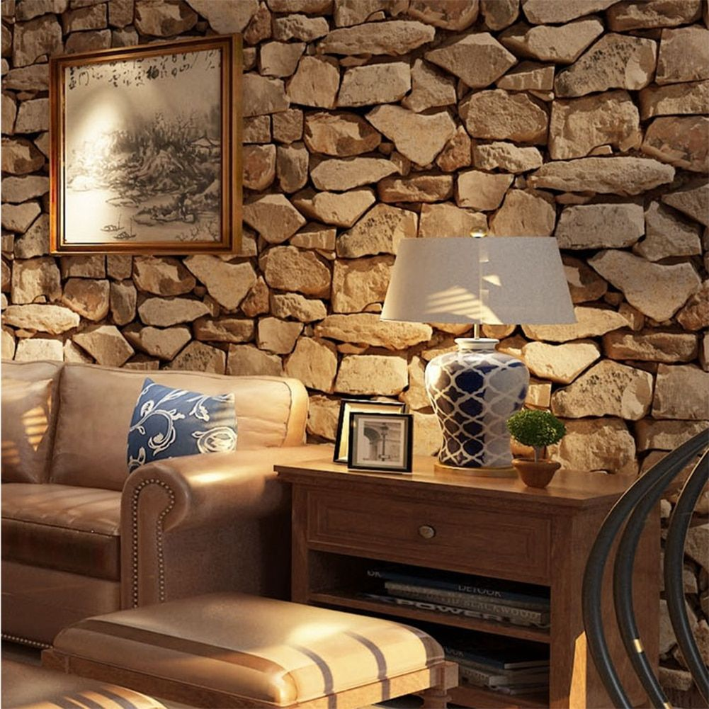 Waterproof Vintage 3d Stone Effect Wallpaper Roll Modern Rustic Realistic Faux Stone Texture Vinyl Pvc Wall Paper Home Decor Brick Effect Wallpaper Stone Wallpaper Brick Wallpaper Roll
