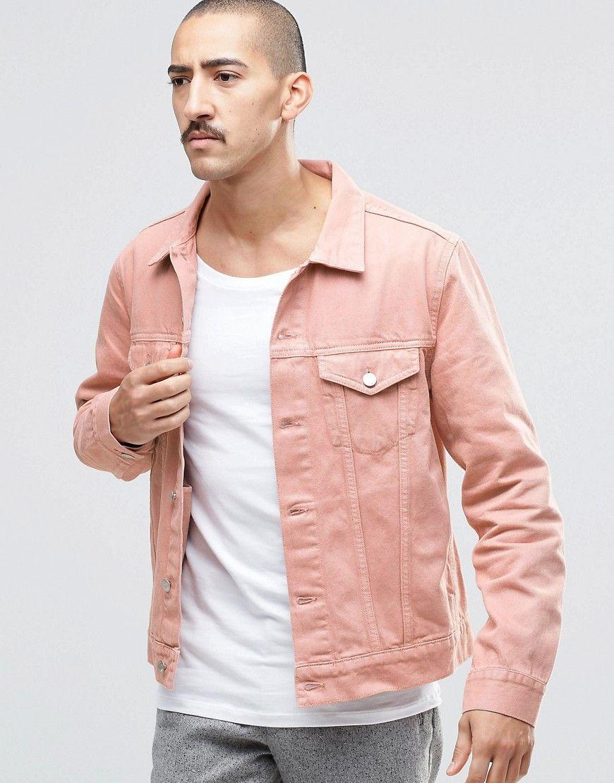 Image 1 Of Weekday Single Slim Denim Jacket Pink Mens Fashion Denim Shirt Outfit Men Coloured Denim Jacket [ 1110 x 870 Pixel ]