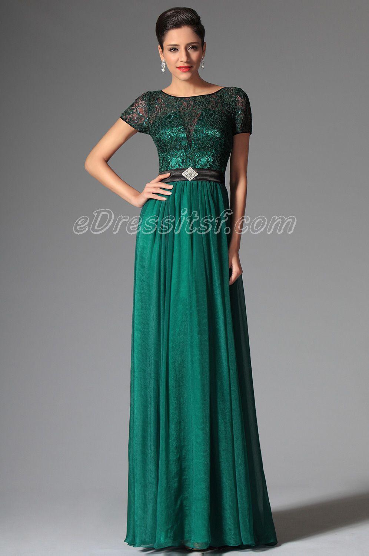 New Dark Green Short Sleeves Evening Dress Prom Dress | eDressit ...